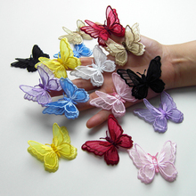 (6pcs/lot) Free shipping 3DMulticolor diy stereo double layer butterfly Lace Trim Fabric Dress Decoration Bridal Trim03311(China)