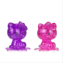 DIY 3D Crystal Puzzle Cartoon Mickey Kitty Cubs Ducks Multi-modeling Puzzles Pink Blue Transparent Children's Birthday Gifts