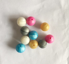 100 pcs Silicone chewing/ teething beads, food grade. Round 15mm, pearl white,pearl blue,pearl fuchsia..