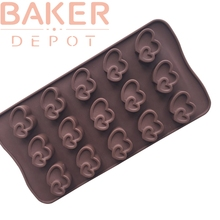 BAKER DEPOT DIY Silicone Mold for Chocolate Jelly Pudding Silicone Cake Decorating Mold Double Heart Design CDSM-581(China)