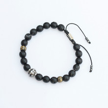 Lotus Mann Grind arenaceous black beads six words old pearl silver bracelet with euramerican style for men and women