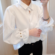 ruffles big puff sleeve white blouse princess retro ladies shirt women tops chemise femme chemisier blanca blus mujer camisa