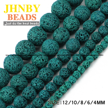 JHNBY Green Lava beads Natural Stone beads Volcanic rock High quality Round Loose bead ball 4/6/8/10/12MM for jewelry making DIY