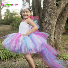 Princess Little Horse Unicorn Bustle Tutu Dress Girls Baby Rainbow Birthday Party Photo Prop Costume Kids Purim Halloween Dress(China)