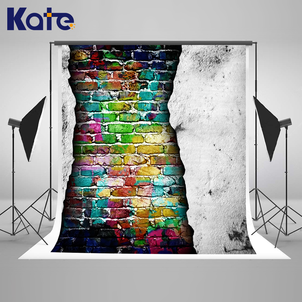 Kate Vintage Mottled Wall Colorful Brick Wall Backdrop Newborn Photography Background Customize Seamless Photo For Studio Custom<br>