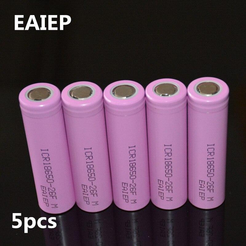 3.7V 2600mAh Original 18650 rechargeable li-ion Battery EAIEP For ICR18650-26F ICR18650 26F 2600 mAH batteries 5