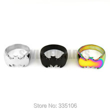 Free shipping! Silver, Black, Multi Colors Batman Ring Stainless Steel Jewelry Fashion Cool Motor Biker Men Women Ring SWR0007SE