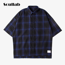 SOULLAB oversized over size high low bottom men top shirt original cotton fabric fleece brand clothing car-styling plaid red new