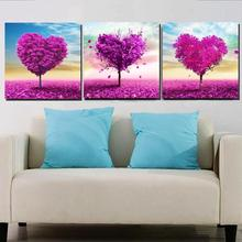 Home Decor Picture 3 Pieces Heart Love Tree Canvas Printing Painting Modern Romantic Fashion Modular High Quality Painting(China)