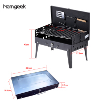 Folding Picnic Camping Charcoal BBQ Grill Adjustable Height Portable Garden barbecue Grill Broiler Outdoor Cooking Tool(China)