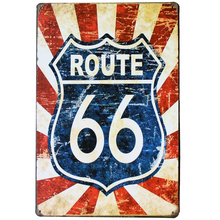 ROUTE 66 NEON Road SIGN Decor Metal Tin Garage Plaque for car shop bar pub wall holiday painting SPM13-3 20x30cm B1