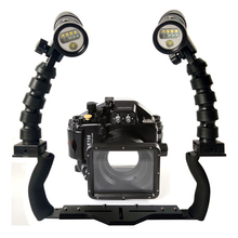 For Panasonic GM1 LX100 Camera Underwater Waterproof Housing Diving Case+Dual Lighting Flex Arm Bracket + Diving Led Video Torch