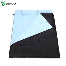 "Newest TOMSHOO 86""x60"" Double Sleeping Bag 2 Person Outdoor Camping Hiking Sleeping Bags with 2 Pillows"