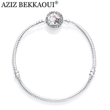 AZIZ BEKKAOUI Bangle With CZ Daisy Cherry Clasp Bracelet & Bangle fit European Diy Pink Flower Beads Charm Bracelet For Women
