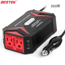 BESTEK 300W Power Inverters 12V Pure Sine Wave Inverter Charger Power Supply 4.2A Dual Smart Ports USB Charger Car USB Charger(China)