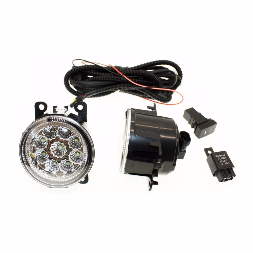 For Nissan Sentra 2007-2012  H11 Wiring Harness Sockets Wire Connector Switch + 2 Fog Lights DRL Front Bumper LED Lamp <br>