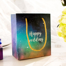 5pcs 18*15*8.5cm Fashion Gift Paper Bag Candy Chocolate Small Gift Box HAPPY WEDDING Stuff Carrier Holder Star Sky(China)