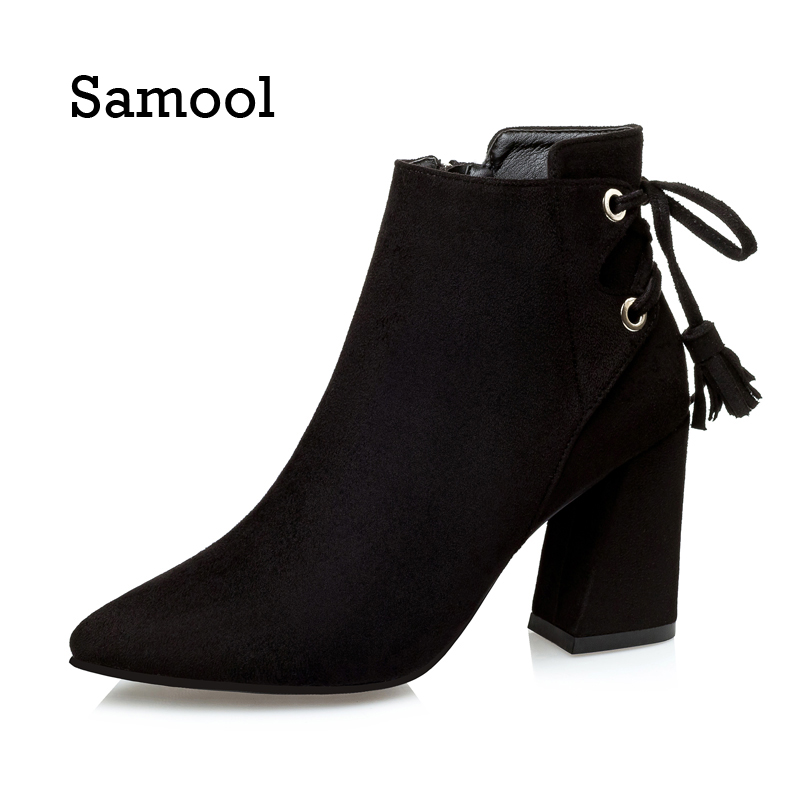 SAMOOL  2017 Pointed Toe Boots Casual Fashion Women Ankle Boots Spike Heels Black High Heels Ladies Girl Thin Heels Boots<br>