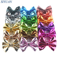 Express Free 300pcs/lot 10.0cm Synthetic Faux Leather Bow Knot Newborn Toddler Girl Headband Hairpin Hair Accessories H0273(China)