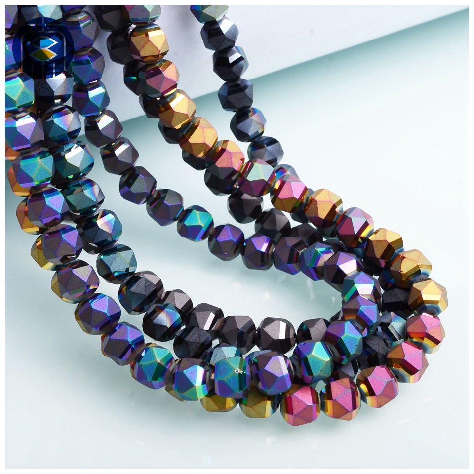 JuleeCrystal Triangle Faceted Round Beads 8mm 30PCS Glass Beads Colorful Matte Crystal Loose Beads for DIY Making