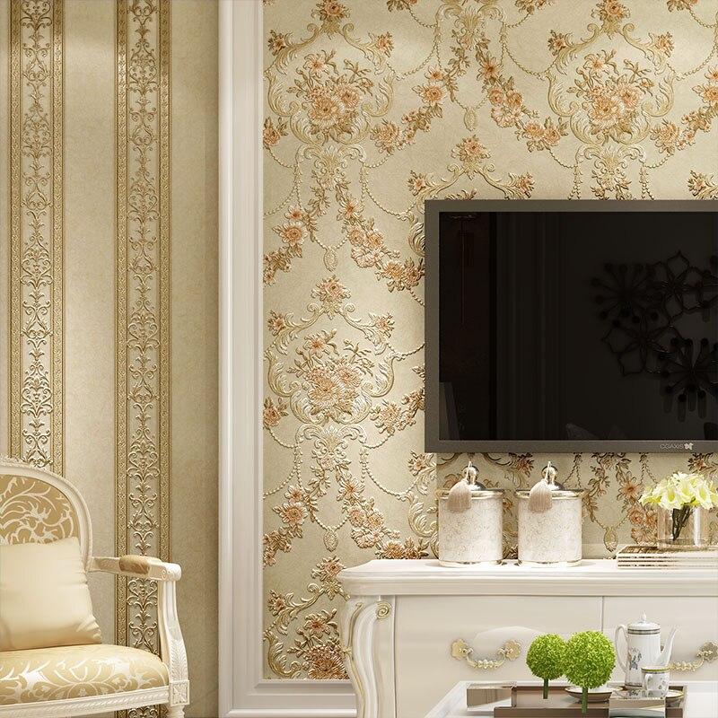 beibehang Pastoral AB version of wallpaper 3D deep embossed wallpaper nonwovens living room bedroom TV background wallpaper<br>