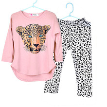 2017 New Girls Clothing Sets Toddler Leopard Pattern Girls Clothes Baby Kids Clothing Full Sleeve T Shirt +Pants Kids Clothes