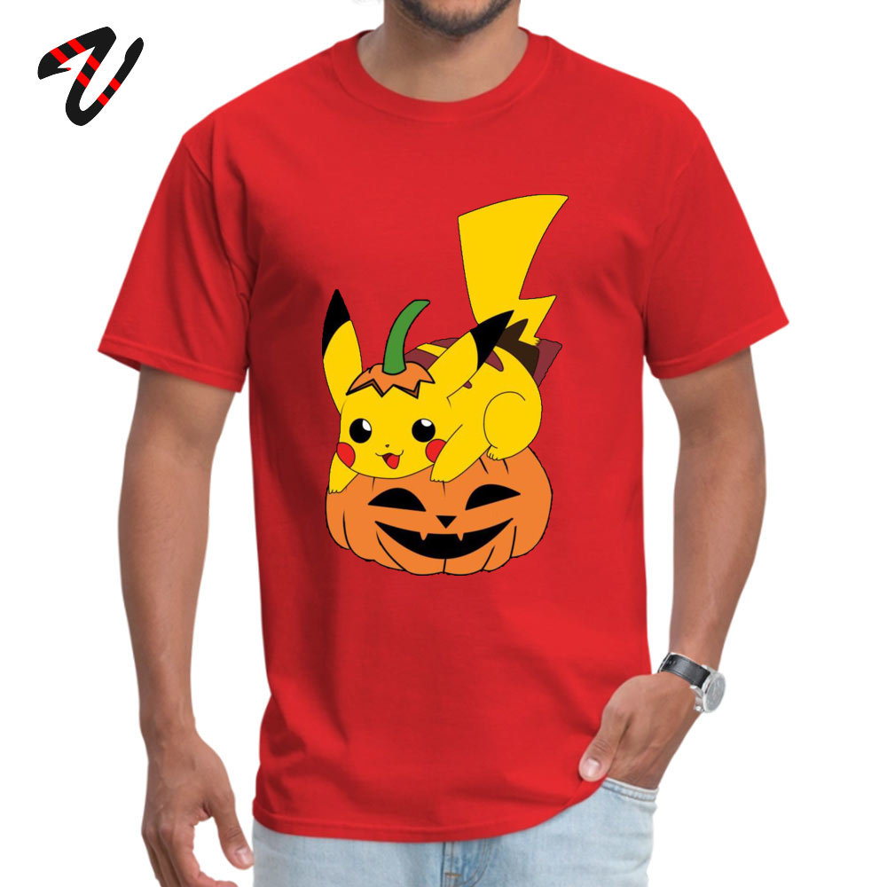 Printed On Short Sleeve Tops & Tees Mother Day Graphic Crew Neck Cotton Tops Shirt Student T-Shirt PikachuHalloweenPokemon PikachuHalloweenPokemon red