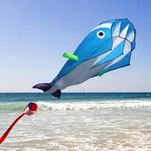 3D Huge Dolphin Fly Kite Soft Parafoil Giant Blue Kite Outdoor Sport Dolphins Flying Kites Toys Easy to Fly Sport Kite Parachu