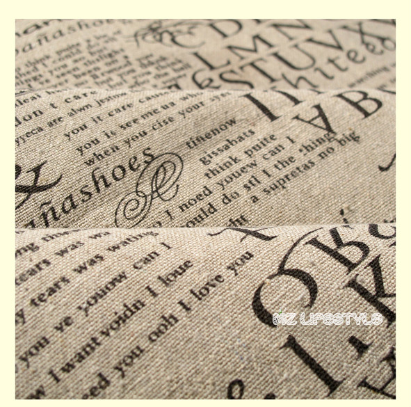 Buulqo 100*140cm width retro upholstery printed enligh letters cotton linen fabric by meter  DIY  home decor fabric hemp fabric 7
