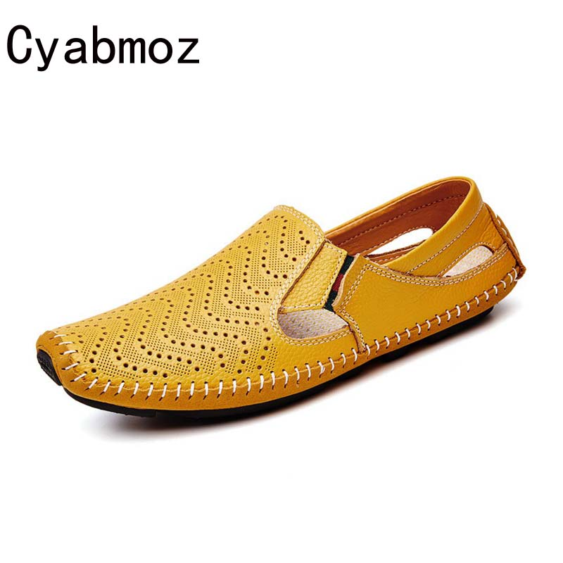 Cyabmoz Summer Cut-Outs Hole Mens Genuine Leather Slip-on Loafers Flats Driving Shoes Fashion Boat Shoe Mens Handmade Moccasins<br>
