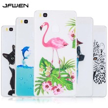 JFWENFor Coque Huawei P9 Lite Case Silicone Soft TPU Colorful Flamingo Girl Phone Cover For Huawei P9 Lite Cell Phone Case Cover(China)