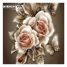 ZOOYA Diy Diamond Painting Flower Diamond Cross Stitch Crystal Round Diamond Sets Unfinished Full Diamond Embroidery DD467(China)