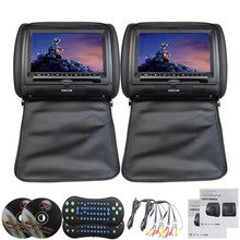 Car Headrest 2 Pieces monitor CD DVD Player Autoradio Black 9 inch Digital Screen zipper Car Monitor USB SD FM TV Game IR Remote