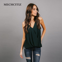 MECHCITIZ 2018 New Women Blouse Sexy Green Tank Tops Summer Ladies Casual Sleeveless Vest Chiffon Blouse Cami Top 4 Color Shirt(China)