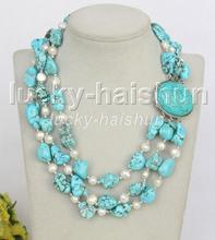 "17"" 3row Natural baroque white pearls blue turquoise necklace turquoise clasp j11264"