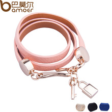 BAMOER Luxury Gold Color Genuine Pink Leather Bracelet Three Circle Jewelry for Women PI0327
