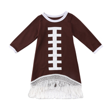 Toddler Kids Baby Girl Dress Rugby Long Sleeve Dresses Round Neck Girls Clothing Tassel Party Dress Clothes(China)