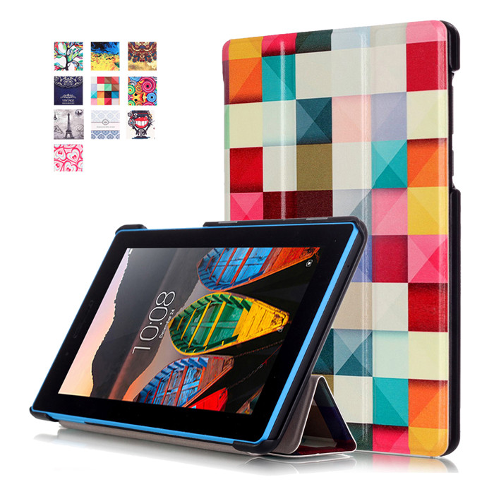"PU Stand Cover Case Lenovo TAB3 Tab 3 7 Essential 710 710F 710I TB3-710F 7.0"" Tablet + 2Pcs Screen Protector"