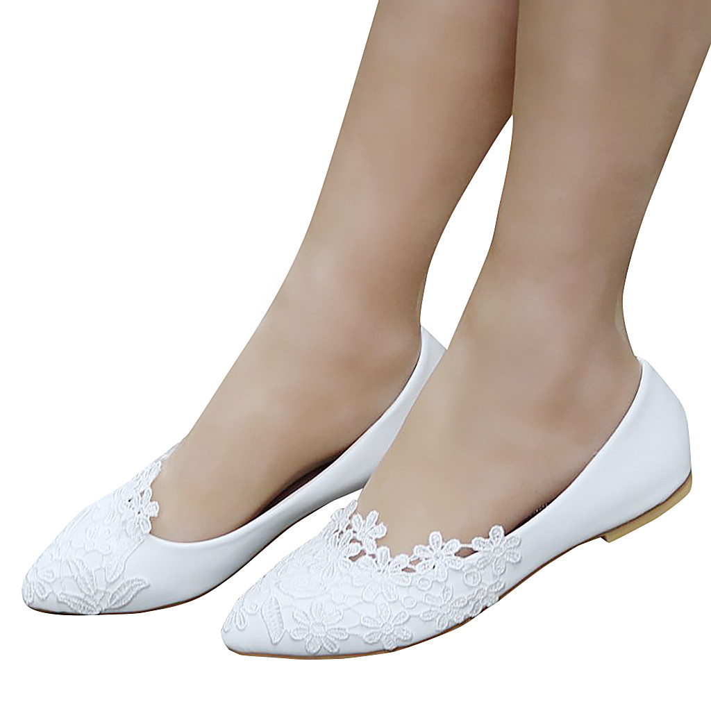 SAGACE Women Flats Lace Spring Pointed-Toe Wedding Autumn White Large-Size Ladies Soft title=