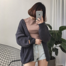 3 colors 2016 autumn and winter Solid color sweater knitted cardigans womens  (A8651)