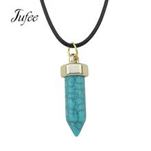 Multicolor Six Ling Kok Imitation Natural Stone Necklace The Explosion Of Six Angle Jewelry Pendant Necklace
