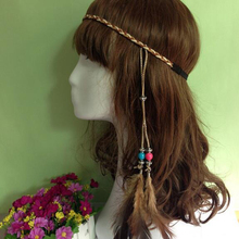 Long Tessal Beads Feather Headband Hippie Headdress Hair Accessories Boho Braid Hair Hoop Peacock Feather Hairband