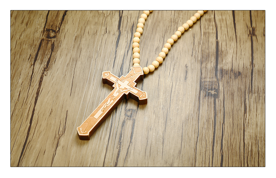Meaeguet Large Wood Catholic Jesus Cross With Wooden Bead Carved Rosary Pendant Long Cruz Collier Statement Necklace Men Jewelry (10)