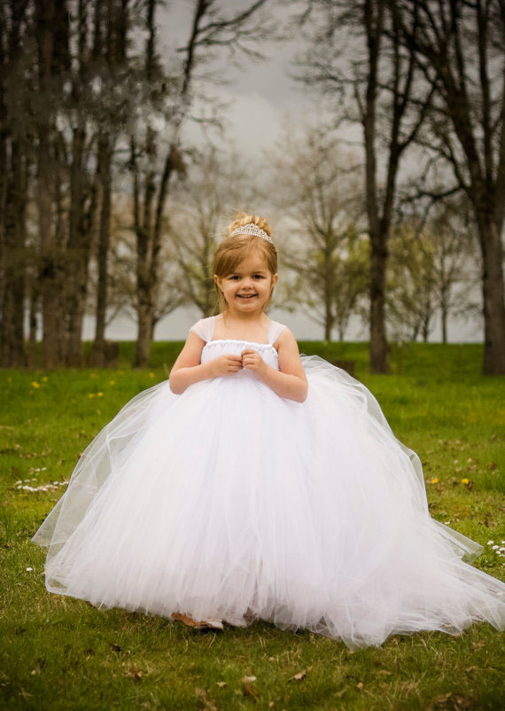 tutu baby solid white bridesmaid flower girl wedding dress tailed tulle fluffy ball gown birthday evening party dress<br>