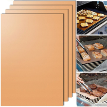 Behokic 2pcs Copper Chef BBQ Grill Bake Nonstick Baking High Temperature Outdoor Barbecue Grill Mat and Bake Mats Cooking Tools