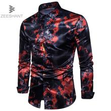 Zeeshant Fashion Mens Shirt Nightclubs Style Oblique Hem Camisa Social Masculina Slim Fit Sexy Club Wearing Chemise Homme XXL(China)