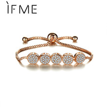 IF ME Fashion Crystal Bracelets Gold Color Round Charms Beads Bracelet for Women Gift Adjustable Pulseras Jewelry Bijoux Jewelry(China)