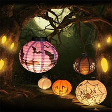 1 pc High quality LED Paper Pumpkin Latern Spider Hanging Light Lamp Halloween Party Decoration Accessories