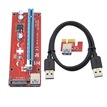 CHIPAL VER007S 1M PCI Express PCI-E 1X to 16X Riser Card Extender with USB 3.0 Data Cable & 15Pin SATA Molex Power Interface(China)