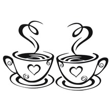 New Arrival Beautiful Design Coffee Cups Cafe Tea Wall Stickers Art Vinyl Decal Kitchen Restaurant Pub Decor(China)